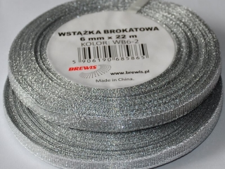 Wst±¿ka brokatowa 6mm WB6-2 kolor srebrny